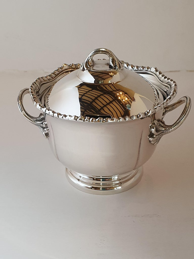 21st Century Georgian Style Hand-Crafted Sterling Silver Jam Jar, Italy, 2007 In New Condition For Sale In Cagliari, IT