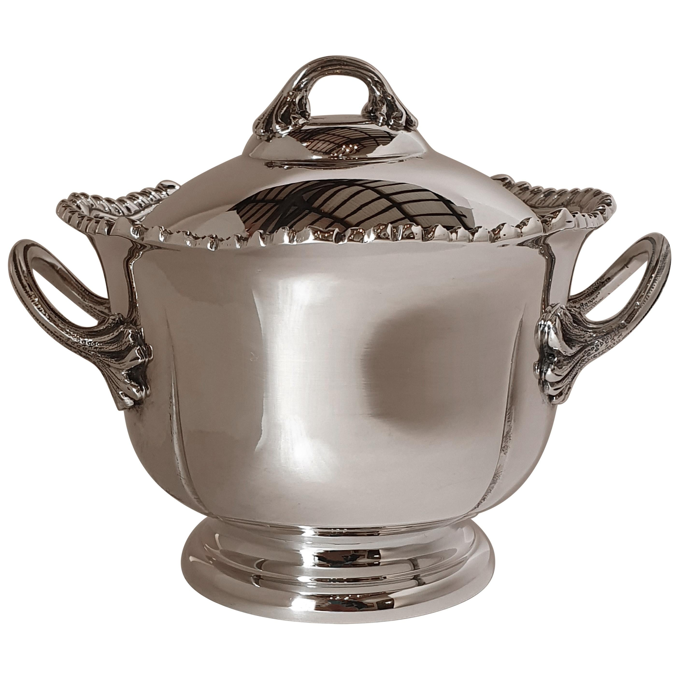 21st Century Georgian Style Hand-Crafted Sterling Silver Jam Jar, Italy, 2007