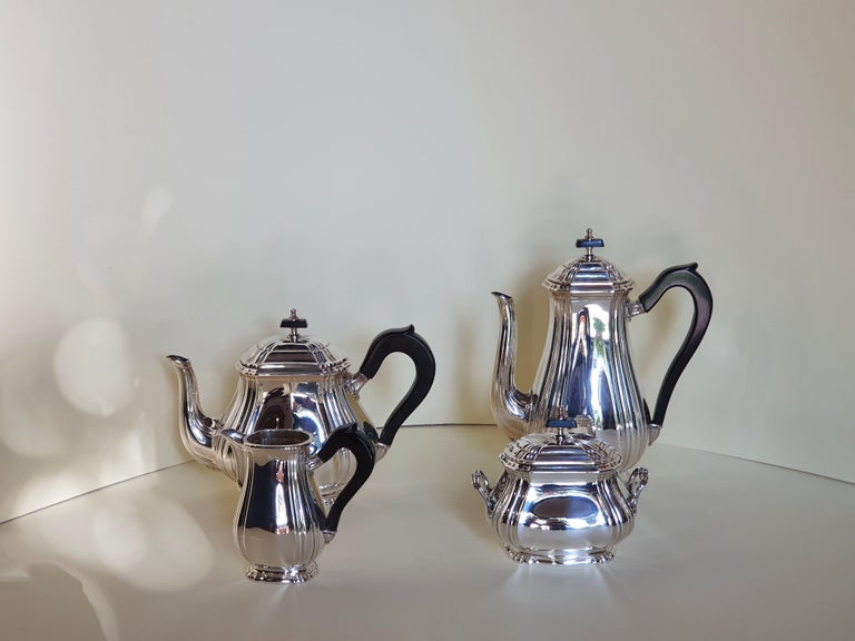 21st Century Georgian Style Sterling Silver Coffee and Tea Set, Italy, 2006 For Sale 4