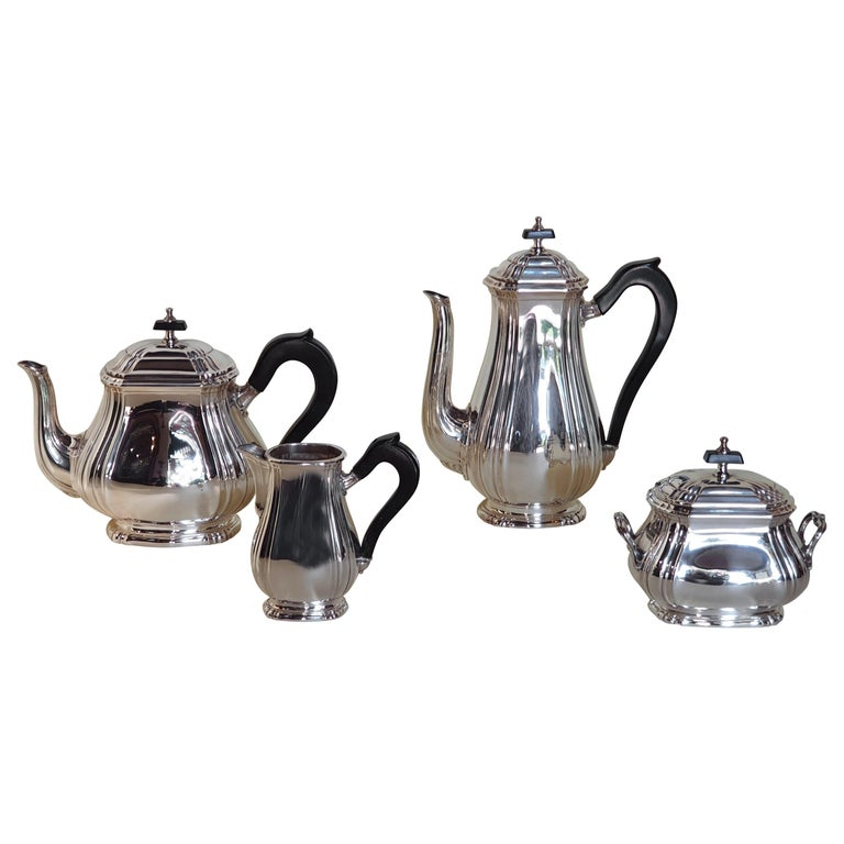 21st Century Georgian Style Sterling Silver Coffee and Tea Set, Italy, 2006 For Sale
