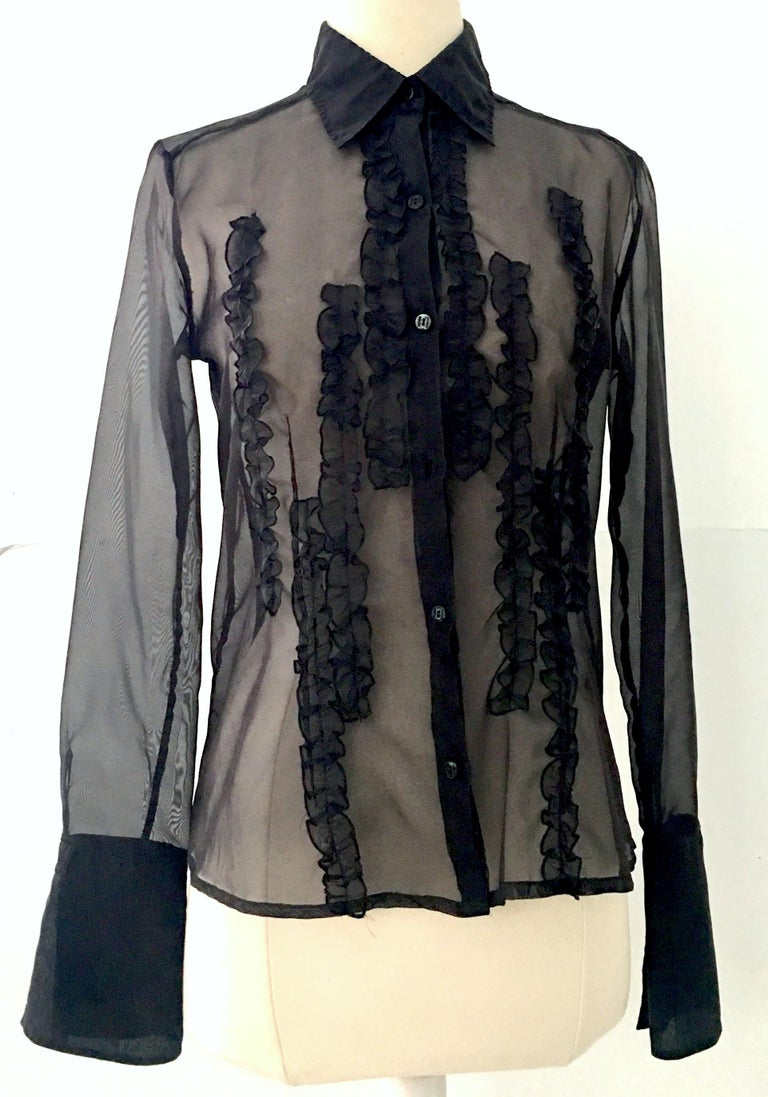 f516a7865fd619 Classic Gianfranco Ferre black silk chiffon fitted ruffle front button up  long sleeve blouse. Features