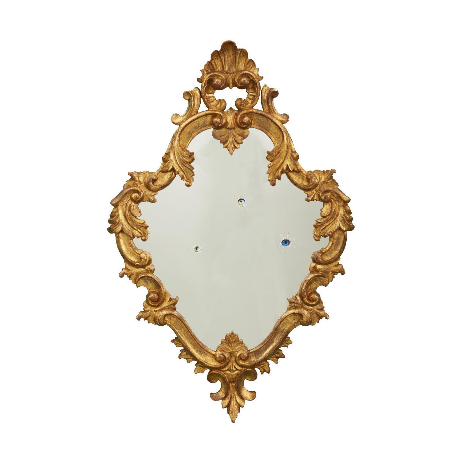 21st Century Gilded Wall Mirror with Holes and Eyes by Giampiero Romanò