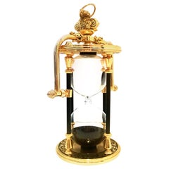 21st Century Gilt Gold Brass, Enamel & Blown Glass Hanging Hour Glass
