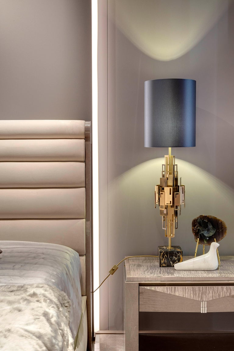 Brushed 21st Century Glam Table Lamp by Officina Luce Plain and Hammered Brass Plates For Sale