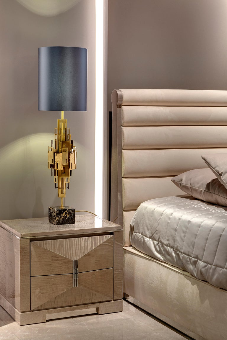Contemporary 21st Century Glam Table Lamp by Officina Luce Plain and Hammered Brass Plates For Sale