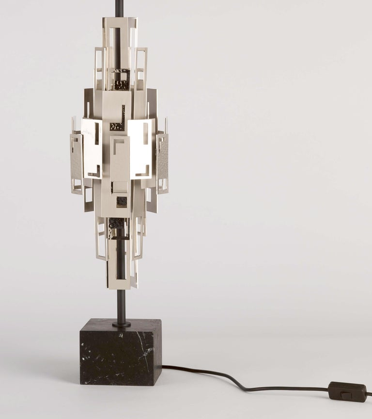 Galvanized 21st Century Glam Table Lamp by Officina Luce Plain and Hammered Nickel Plates For Sale