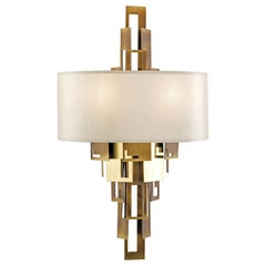 21st Century Glam Wall Lamp by Officina Luce Plain and Hammered Brass Plates