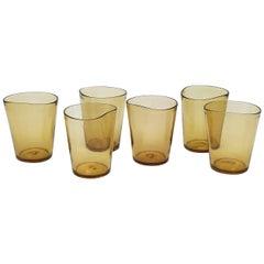 21st Century Glassware by Micheluzzi Glass, Six Mosso Glasses Handmade in Murano
