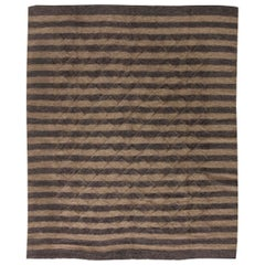 21st Century Goat Hair Taurus Collection Rug in Shades of Brown Stripes