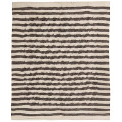21st Century Goat Hair Taurus Collection Rug in Shades of White and Grey Stripes