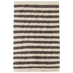 21st Century Goat Hair Taurus Collection Rug in Shades of White & Grey Stripes