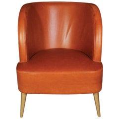 21st Century Godard Armchair Leather Pinewood