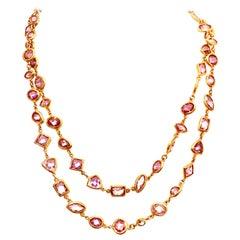 21st Century Gold & Amethyst Swarovski Crystal Opera Necklace By, Kenneth Lane