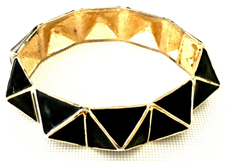 Modern 21st Century Gold & Enamel Clamper Bangle Bracelet By, Kenneth Lane For Sale