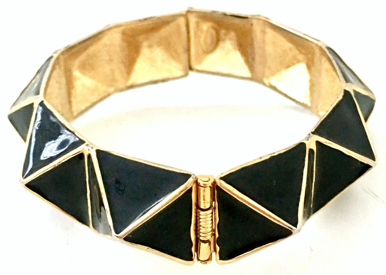 Women's or Men's 21st Century Gold & Enamel Clamper Bangle Bracelet By, Kenneth Lane For Sale