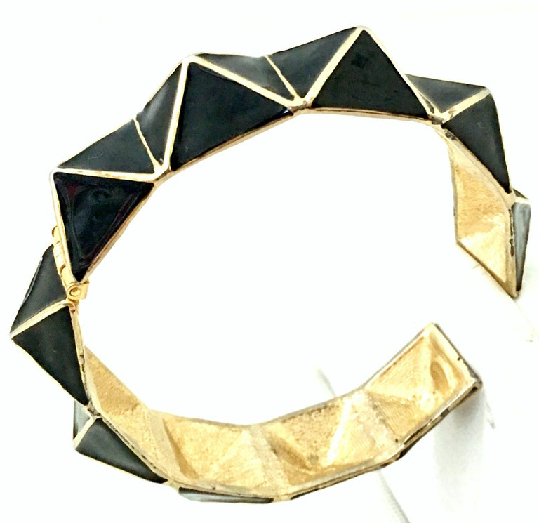 21st Century Gold & Enamel Clamper Bangle Bracelet By, Kenneth Lane For Sale 1