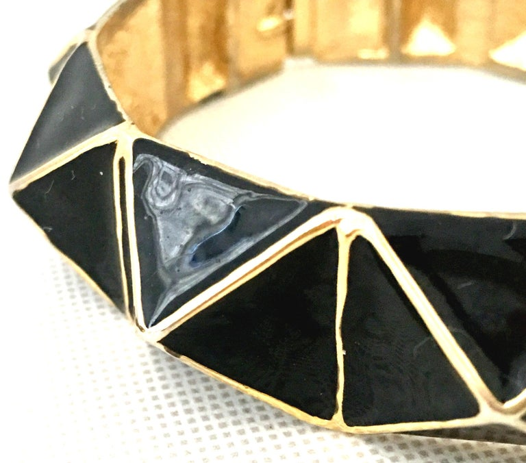 21st Century Gold & Enamel Clamper Bangle Bracelet By, Kenneth Lane For Sale 2