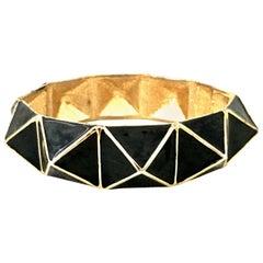 21st Century Gold & Enamel Clamper Bangle Bracelet By, Kenneth Lane