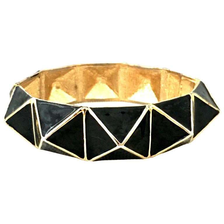 21st Century Gold & Enamel Clamper Bangle Bracelet By, Kenneth Lane For Sale