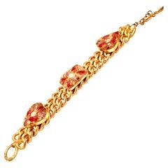 """21st Century Gold Plate & Cased Molded Glass """"Heart"""" Chain Link Bracelet"""