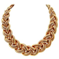 21st Century Gold Plate Mesh Rope Choker Style Necklace By, Giles & Bro