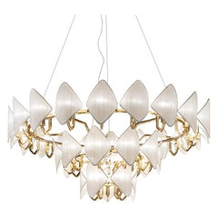 21st Century Gold Plated Chandelier and White Silk Shades by Roberto Lazzeroni