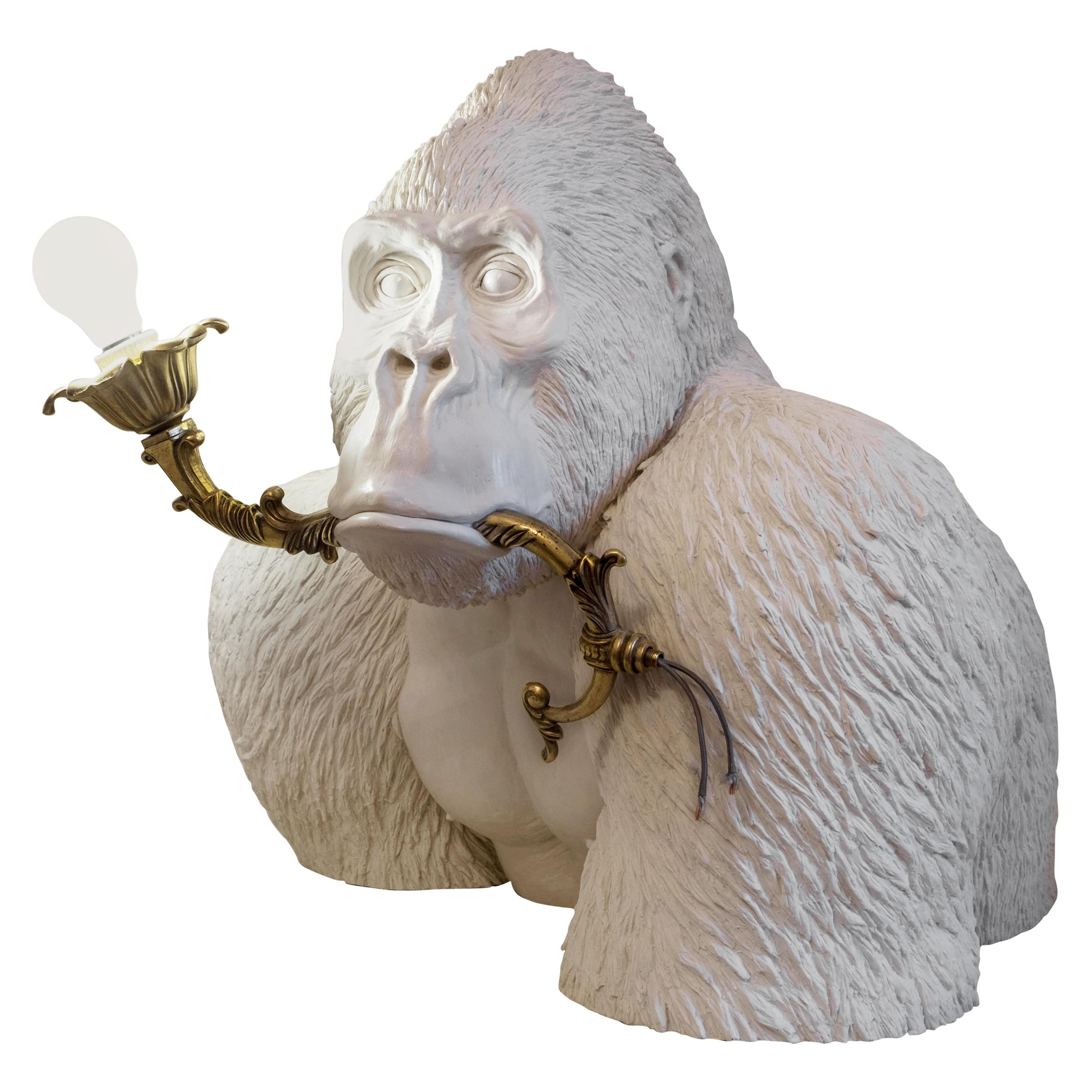21st Century Gorilla Lamp Light by Marcantonio, White Painted Fiberglass Resin