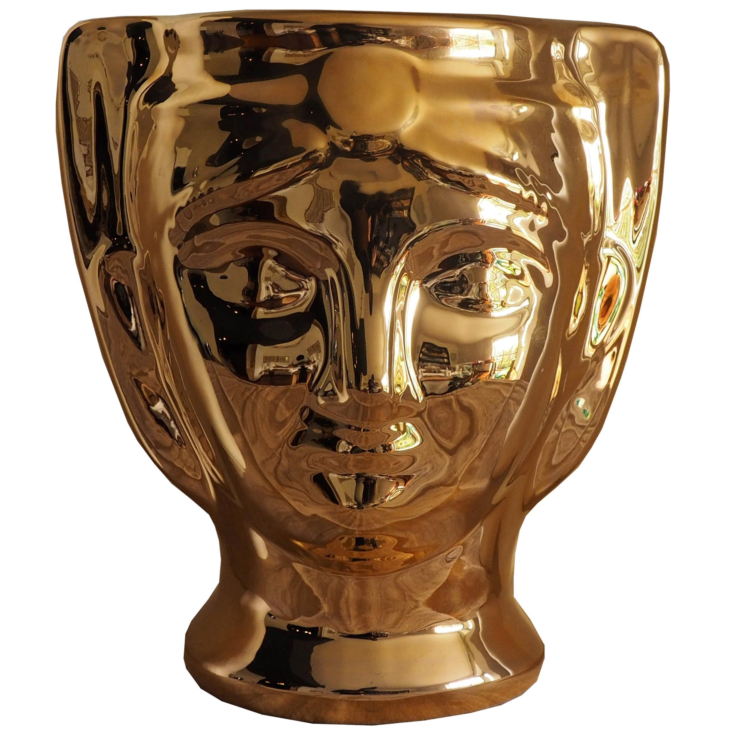 21st Century, SicilianMoor's Head. Ceramic Vases, Gold. Hand Made Made in Italy