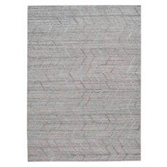 Modern Gray Indian Transitional Flat-Weave Wool Rug