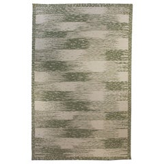 21st Century Green and Beige Forel Handmade Wool Rug