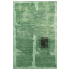 21st Century Green and Black Handmade Silk Rug