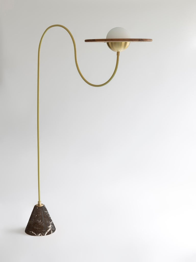 21st Century Green Floor Lamp with Cane and Rosa Pink Marble For Sale 2