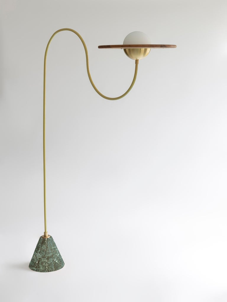 21st Century Green Floor Lamp with Cane and Rosa Pink Marble For Sale 5