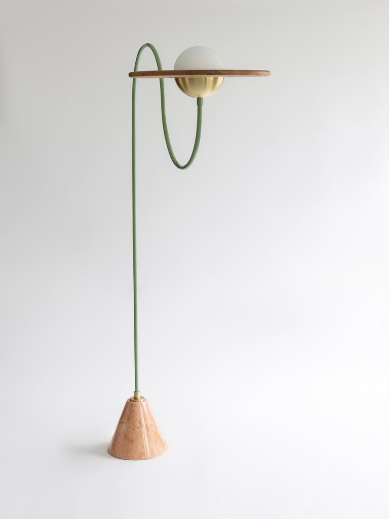 Arts and Crafts 21st Century Green Floor Lamp with Cane and Rosa Pink Marble For Sale