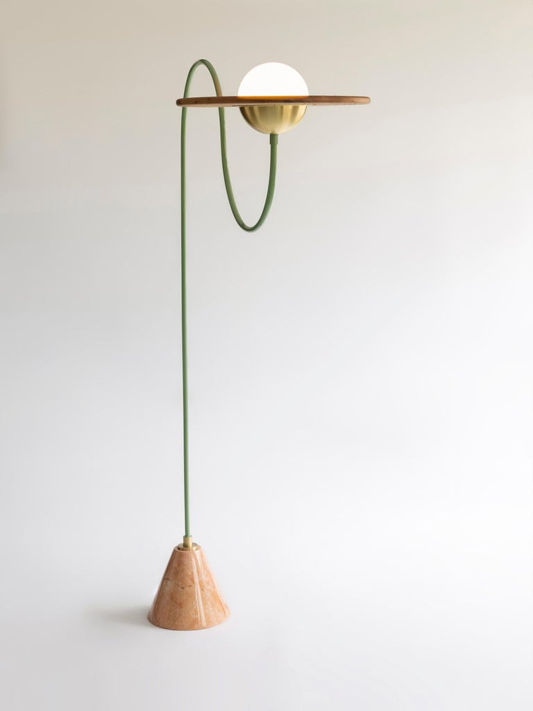 Turkish 21st Century Green Floor Lamp with Cane and Rosa Pink Marble For Sale