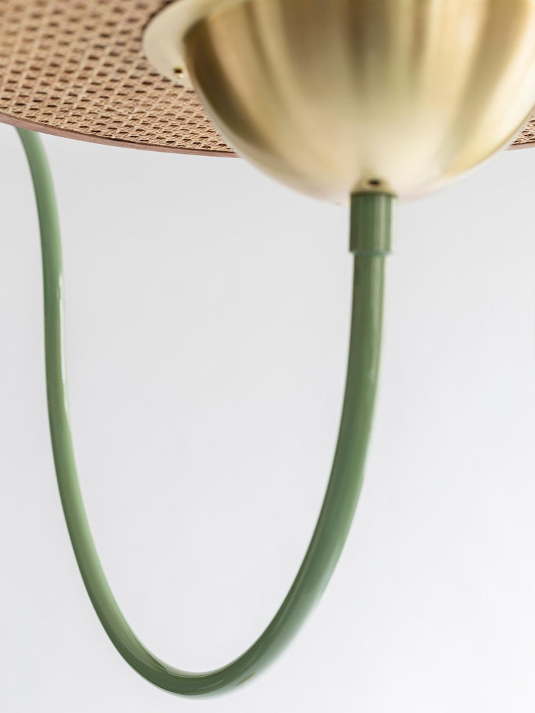 21st Century Green Floor Lamp with Cane and Rosa Pink Marble In New Condition For Sale In Istanbul, TR