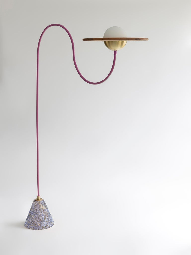 21st Century Green Floor Lamp with Cane and Rosa Pink Marble For Sale 1