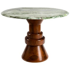21st Century Green Marble Round Dining Table with Sculptural Wooden Base
