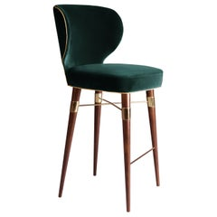 21st Century Green Velvet Louis Bar Stool Polished Brass Walnut