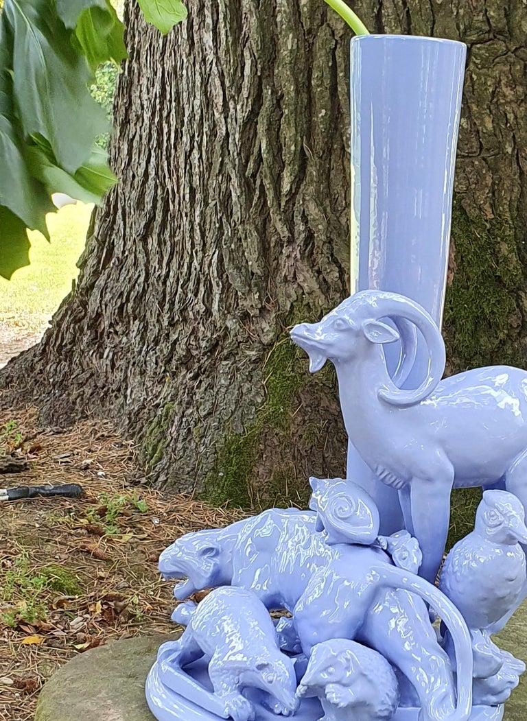 Modern 21st Century Grey Blue Sculpture by Ceramica Gatti, designer A. Anastasio For Sale