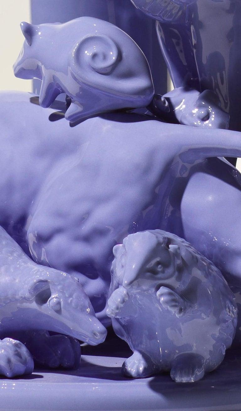 Enameled 21st Century Grey Blue Sculpture by Ceramica Gatti, designer A. Anastasio For Sale