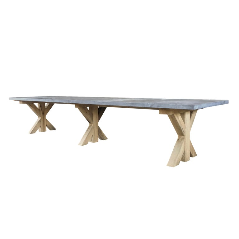 Hand-Carved 21st Century Grey Hoven Table For Sale