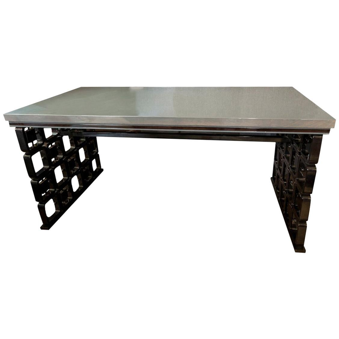 Italy Desk in Borsani Style Walnut Black and Grey Lacquered