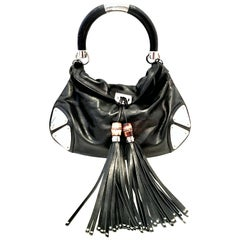 """21st Century Gucci Black Leather & Chrome """"Indy"""" Hobo Hand Bag"""