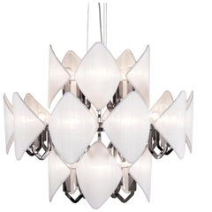 21st Century Gunmetal Chandelier and White Silk Shades by Roberto Lazzeroni