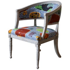 21st Century Gustavian Style Armchair with Upholstery from Svenskt Tenn