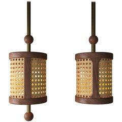 21st Century Hamilton Pendant Lamp Walnut Wood Rattan