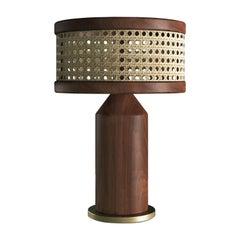 21st Century Hamilton Table Lamp Walnut Wood and Rattan