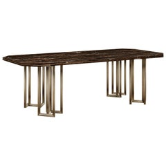 21st Century Hancock Dining Table Marble Aged Brass