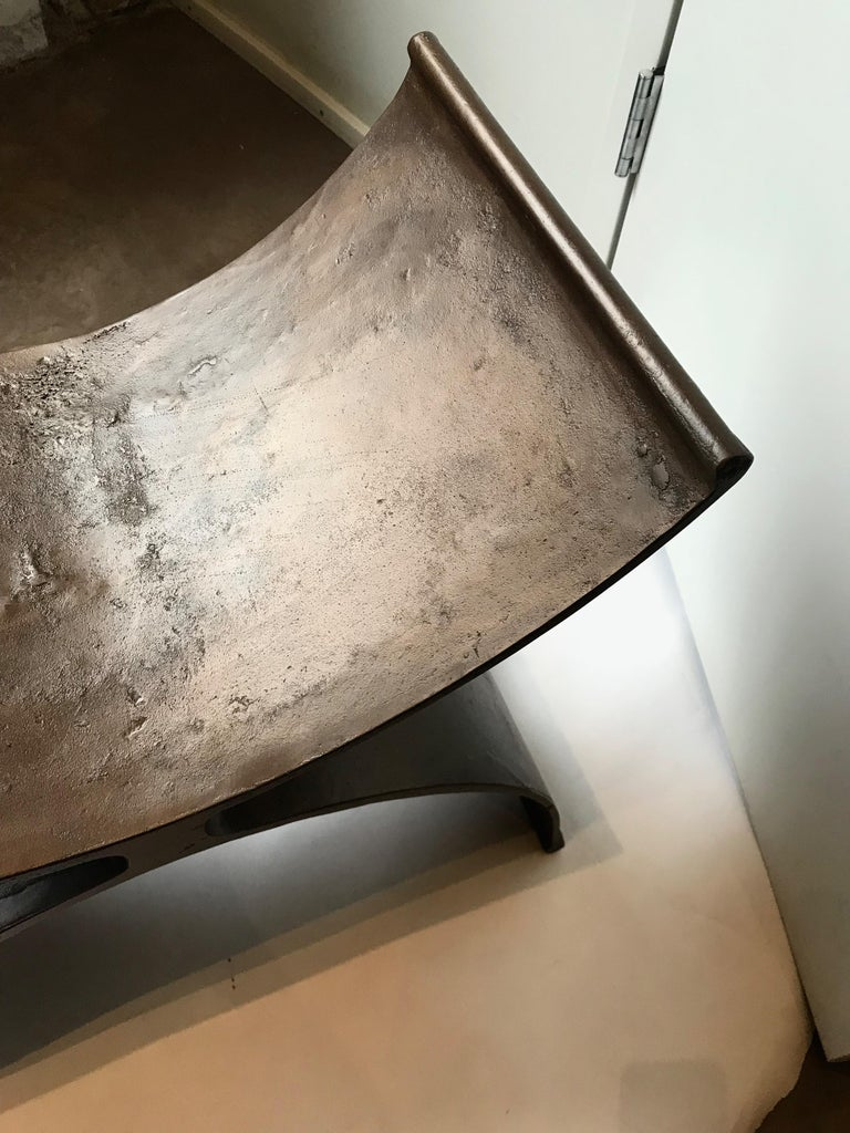 American 21st Century Hand Finished Aluminum Foundry Collection Stool, Michael Del Piero For Sale